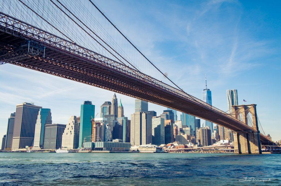 Brooklyn Bridge with New York Skyline