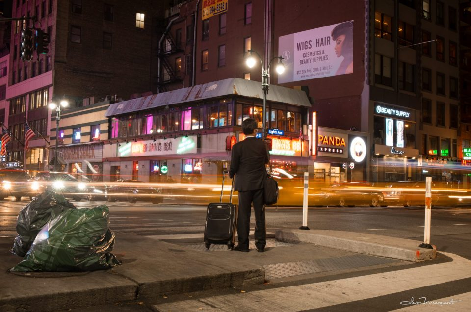 Night scene at 8th Avenue, New York